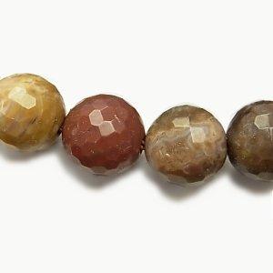 ペトリファイドウッド 珪化石(化石) 128面ラウンドカット10mm 【1個】