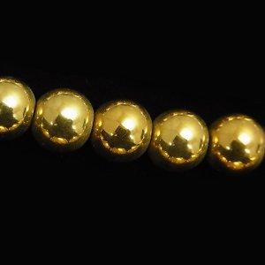 ヘマタイト(ゴールド) ラウンド6mm 【1個】 《身代わりの石》