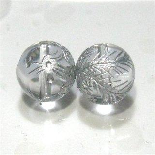 水晶ビーズ神獣彫り(朱雀・銀) 10mm【1個】