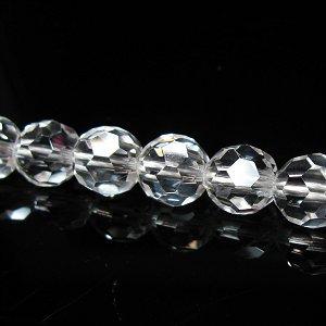 バッキーボールカット水晶[機械掘り] (AAA) ラウンドカット8mm 【1個】 《願望の実現を高速化する石》