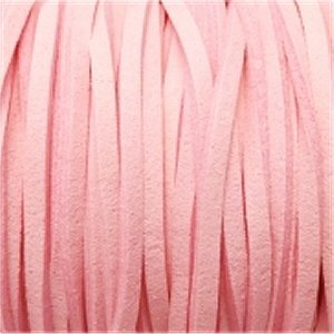 革紐 3X2mm(高品質スエード調合皮紐)平線ピンク 【1m】