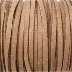革紐 3X2mm(高品質スエード調合皮紐)平線モカブラウン 【1m】