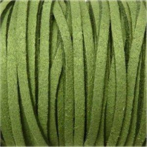 革紐 3X2mm(高品質スエード調合皮紐)平線グリーン 【1m】