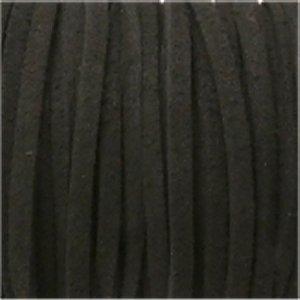 革紐 3X2mm(高品質スエード調合皮紐)平線ブラック 【1m】