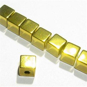 ヘマタイト キューブ(ゴールド)4X4X4mm 【1個】