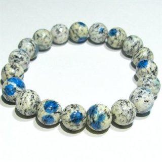 《希少石》高品質『K2ブルー』(10mm)ブレスレット[B]アズライトイングラナイト