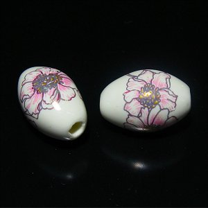 【特価】トンボ玉(樽形)ホワイト&ピンク花 11X7mm【1個】《50%OFF》