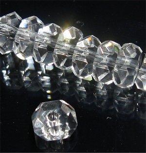 水晶ボタン 20面カット 5.5〜6X3mm【10個】