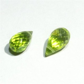 《宝石質》ペリドット (AAA) ドロップ ブリオレットカット 6-9X4-5mm【1個】