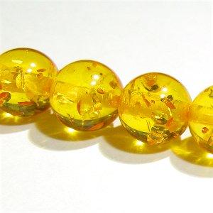 合成琥珀 (アンバー) イエロー ラウンド10mm 【1個】 《富と健康をもたらす石》