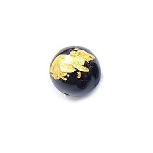 《干支縁起物》オニキス彫刻ビーズ『子(ねずみ)』金箔12mm 【1個】《子孫繁栄・財運向上》