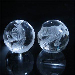 水晶ビーズ神獣彫り(白虎・素彫り) 10mm【1個】