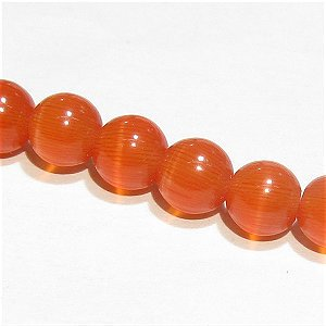 キャッツアイビーズ (レッドオレンジ) ラウンド6mm ペルー産インカローズの色合い【1個】