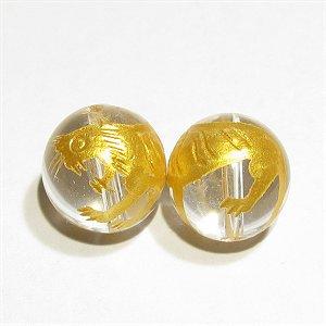 白虎(四神獣)の彫刻入り 水晶(金入り) ラウンド12mm 【1個】