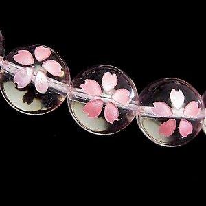 桜の花 彫刻 水晶ビーズ(ピンク箔) ラウンド8mm 【1個】