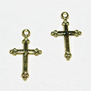 金属チャーム クロス(十字架)ゴールド 17.5X10.5mm 【2個】