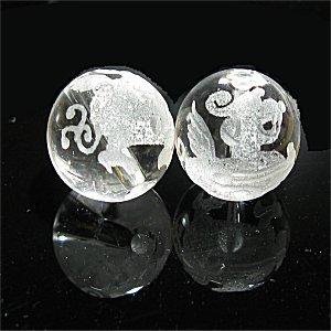 《風水縁起物》 水晶彫刻ビーズ 『貔貅(ヒキュウ)』 素彫り10mm 【1個】 《不運を回避し財運を高める》