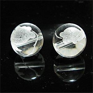 《風水縁起物》 水晶彫刻ビーズ 『夫婦鯉』 素彫り10mm 【1個】 《出世・金運招来・商売繁盛》