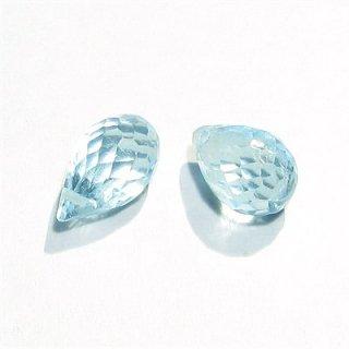 《宝石質》 スカイブルートパーズ(AAA-) ドロップ ブリオレットカット8-10X5mm 【1個】 《自信を与え活力を取り戻す石》