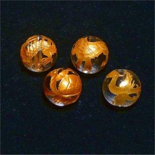神獣彫刻ビーズセット(水晶金入り)4種 (8mmX4個)風水四神獣