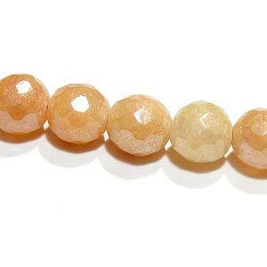 ピンクオレンジアベンチュリン  128面ラウンドカット6mm コーティング仕様 【1個】 《積極的になる勇気が得られる石》