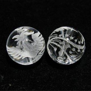 《風水縁起物》 水晶彫刻ビーズ 『鳳凰』 素彫り12mm (限定品) 【1個】 《平安・繁栄・美を象徴する》