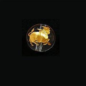 《干支縁起物》水晶彫刻ビーズ 『うし(丑年)』 金入り10mm 【1個】 《誠実で粘り強い精神力》