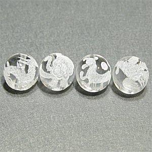 《風水縁起物》 神獣彫刻ビーズセット(水晶素彫り)4種 (12mmX4個)風水四神獣