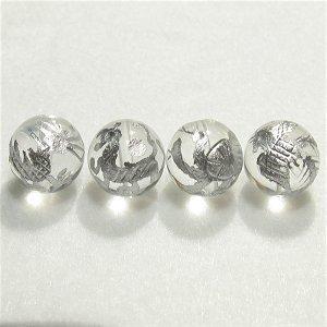 《風水縁起物》 神獣彫刻ビーズセット(水晶銀入り)4種 (10mmX4個)風水四神獣