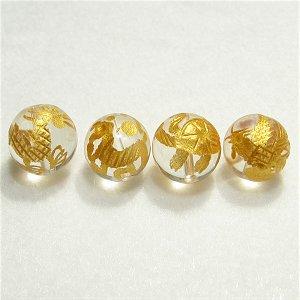 《風水縁起物》 神獣彫刻ビーズセット(水晶金入り)4種 (10mmX4個)風水四神獣