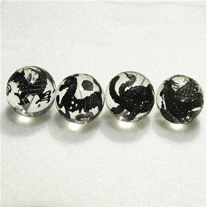 《風水縁起物》 神獣彫刻ビーズセット(水晶墨入り)4種 (12mmX4個)風水四神獣