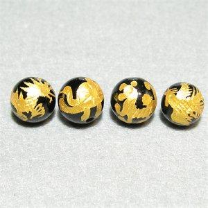 《風水縁起物》 神獣彫刻ビーズセット(オニキス金入り)4種 (10mmX4個)風水四神獣
