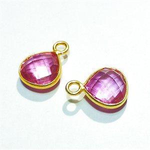 《宝石質》 ピンクトパーズ(AAA) マロンカット枠留めチャーム 【1個】 《持つ人の魅力を引き出す石》