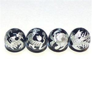 《風水縁起物》 神獣彫刻ビーズセット(オニキス銀入り)4種 (10mmX4個)風水四神獣