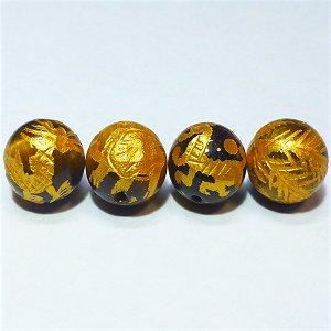 《風水縁起物》 神獣彫刻ビーズセット(タイガーアイ金入り)4種 (10mmX4個)風水四神獣