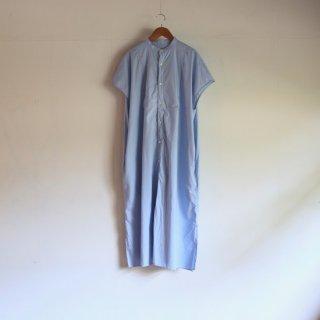 UNIVERSAL TISSU_タイプライター バンドカラーシャツドレス