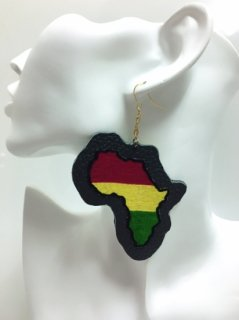 アフリカ布×ラスタカラー アフリカン ハンドメイド カスタム レザー アフリカ大陸ピアス