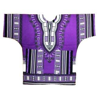 パープル 男女兼用 ダシキ Dashiki 半袖シャツ アフリカ アフリカン 民族衣装  ヒッピー hiphop
