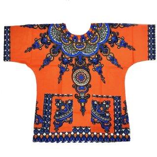 オレンジ 男女兼用 ダシキ Dashiki 半袖シャツ アフリカ アフリカン 民族衣装  ヒッピー hiphop