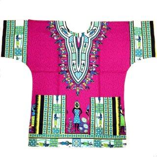 ピンク エジプト 男女兼用 ダシキ Dashiki 半袖シャツ アフリカ アフリカン 民族衣装  ヒッピー hiphop