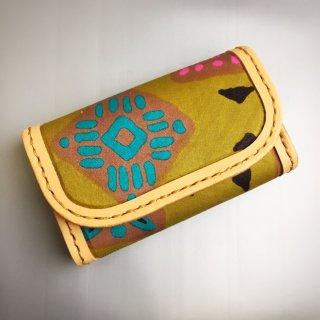 レザークラフト×アフリカ布 ハンドメイド 名刺入れ カード入れ カードケース アフリカ アフリカ布 革 雑貨