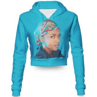 【ご予約商品】Lauryn Hill ローリン・ヒル アーティスト 海外セレブ 似顔絵 3D 七分丈 フーディ パーカー