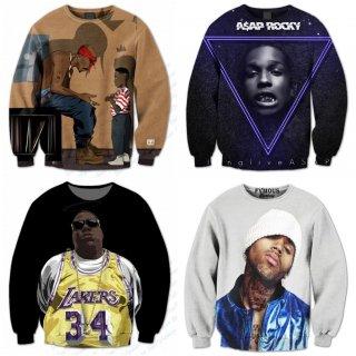 【ご予約商品】2pac Biggie Notorious ASAP Rocky Cris Brown hiphop 3D アーティストプリント スウェットシャツ トレーナー