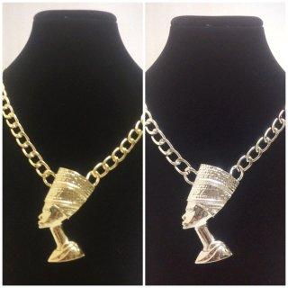 【全2色】※ピアスとセットがオススメ! ネフェルティティ アフリカ エジプト Egypt 古代女王 アクセサリー ゴールド ネックレス