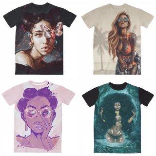 【ご予約商品】【商品説明をお読みください】両面プリント hiphop 3D girls woman プリント 半袖Tシャツ ガールズ ウーマン