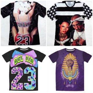 【ご予約商品】【商品説明をお読みください】両面プリント Old School 90 90's hiphop 3D 2pac Aaliyah 23 アーティストプリント 半袖Tシャツ