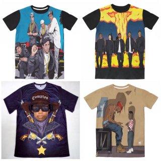 【ご予約商品】【商品説明をお読みください】両面プリント Old School 90 90's hiphop 3D 2pac N.W.A. Eazy-E アーティストプリント 半袖Tシャツ