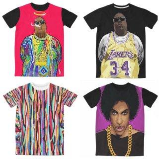 【ご予約商品】【商品説明をお読みください】両面プリント Old School 90 90's hiphop 3D B.I.G Biggie Prince アーティストプリント 半袖Tシャツ