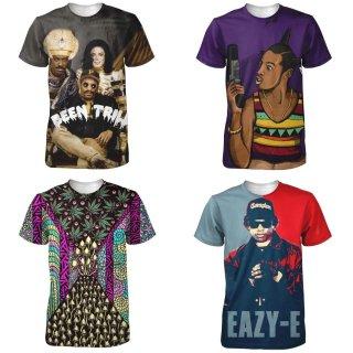 【ご予約商品】【商品説明をお読みください】両面プリント 3D Michael Jackson Eazy-E アーティストプリント 半袖Tシャツ マイケル・ジャクソン