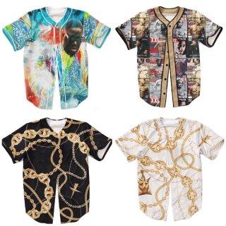 【ご予約商品】【商品説明をお読みください】両面プリント Old School 90 90's hiphop B.I.G Biggie 2pac アーティストプリント ボタンシャツ ベースボールシャツ